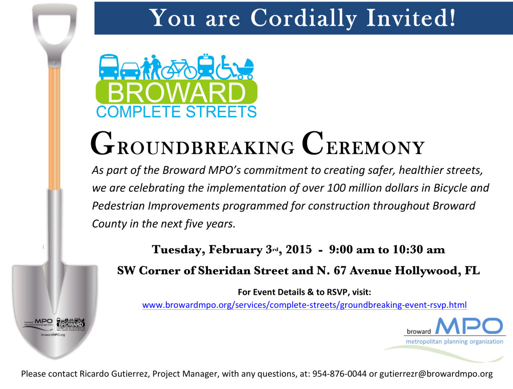 Broward MPO's Hosting the Complete Streets Groundbreaking ...